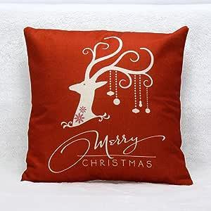 Venzhe vintage Christmas Deer Pillow case Bed casa decorativo Cuscino festival federa 45,7x 45,7cm Pattern 1