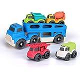 BeebeeRun Camion de Juguete para niños,Transportador de Coches con 4 vehículos de construcción de Juguetes,Educativos Juguete
