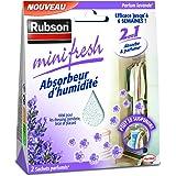 Rubson Minifresh Absorbeur d'Humidité en sachet, spécial placards, tiroirs, penderies, Absorbeur d'odeur 2 sachets parfum lav