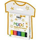 Kreul 27156 - MUCKI Stoff Sternchen, 5 Stoffmalstifte für Kinder in gelb, rot, blau, grün und schwarz, Strichstärke 2 - 5 mm,