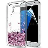 LeYi Hülle Galaxy S7 Edge Glitzer Handyhülle mit HD Folie Schutzfolie,Cover TPU Bumper Silikon Flüssigkeit Treibsand…