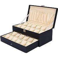 Hard Craft Watch Box for 24 Watches Black-Cream