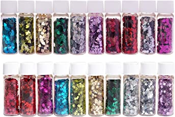 Midas Beautiful & Assorted Colors Sparkle Glitter Flakes Bottle Star and Heart Shape For Creative DIY Arts & Crafts - Combo Of 20 - 5ml each