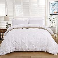 WONGS BEDDING Parure de lit 2 pièces avec Housse de Couette plissée pour la Maison et la Collection d'hôtel Blanc…