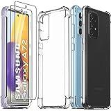 Ferilinso Beschermhoes voor Samsung Galaxy A72 4G & 5G + 2 stuks pantserglas beschermfolie [transparant silicone telefoonhoes