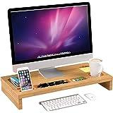 Homfa Soporte para Monitor Soportes para Pantallas de bambú Mesas de Ordenador Organizador de Escritorio para Monitor 60x30x8
