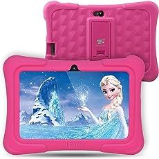 Dragon Touch Y88X Plus Kinder Tablet Pad für Kids (Rosa-Quad-Core, 1G RAM Wifi Bluetooth, Android 7.1 mit rosa Silikon verstellbaren Stand Case)