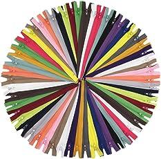YaHoGa 100 Stück 20 cm langer Reißverschlüsse, 3mm Laufschiene Reißverschluss, in 20 verschiedenen Farben