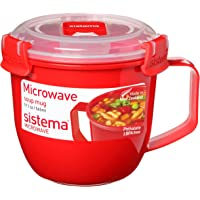 Sistema Microwave Small Soup Mug | Microwave Food Container | 565 ml | BPA-Free | Red/Clear