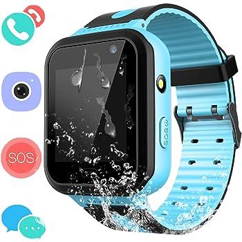Smartwatch IP67 Impermeable para niños con GPS rastreadores Relojes Inteligentes al Agua Teléfono con AGPS/LBS SOS Cámara Juegos de Chat de Voz para niños ...