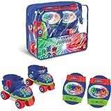 Mondo Toys-Pattini a rotelle Regolabili PJ Masks per Bambini-Taglia dal 22 al 29 - Set Completo di Borsa Trasparente, gomitie