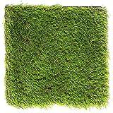 LULIND - 1 Kunstrasen, Quadratische Form, 31 x 31 cm - Kleine Grasmatte für Drinnen und Draußen mit Abfluss