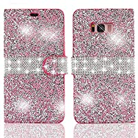 For Galaxy S8 Plus Bling Wallet Case,Vandot PU Leather Flip Case Magnetic Closure Elegant 3D DIY Glitter Diamond Shinning Rhinestone Exclusive Design Anti-Scratch Shock-Absorbing Practical 360 Degree Protective Cover for Samsung Galaxy S8 Plus-Sparkle Pin