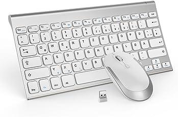 Tastatur und Maus, Jelly Comb Wiederaufladbare Kabellose Tastatur und Maus 2,4G Ultra Dünn Wireless Combo für Laptop Desktop Tablet und Smart TV (QWERTZ Layout Deutsche Tastatur) Flüsterle (Silber)