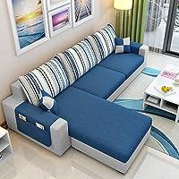 CasaStyle Adona 4 Seater Fabric LHS L Shape Sofa Set (Dark Blue- Light Grey)