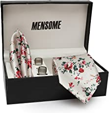 MENSOME tie set with Cufflinks and Pocket square in tie for mens(Floral tie)