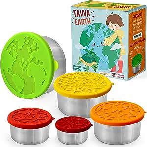 TAVVA Earth Contenitori per Alimenti in Acciaio Inossidabile [Set di 5] - Senza plastica   Coperchi in Silicone   Contenitore per Il Pranzo a Prova di perdite