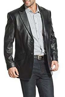 BGSD Men's Classic New Zealand Lambskin Leather Long Walking Coat (Regular, Big & Tall and Short)