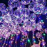 LEEHUR 4 Pcs Ballon LED Lumineux Decoration Lumineuse Ballons en Latex Decoration Bobo Lampe Ballon pour Anniversaire, Mariage, Fête, Soirée, Noël (Transparent)