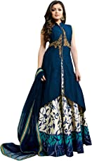 Laxmi Hand Process Women's Silk Cotton Lehenga Choli(LC041170_Blue_Free Size)