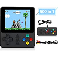 Handheld Game Console, Retro Portable Game Machine with 500 NES FC Games, 3-Inch Color Screen, 2 Players and TV Support, Rechargeable Battery Present Birthday Gift for Kids/Boys/Girls/Adults(Black)