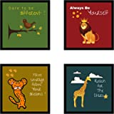 Webelkart Set of 4 Funny Animal Quotes Photo Frame for Wall, Office, Study Room Decoration Poster Framed, Size - 10 x 10 INCH