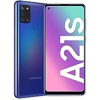 "Samsung Galaxy A21s, Smartphone, Display 6.5"" HD+, 4 Fotocamere Posteriori, 32 GB Espandibili, RAM 3 GB, Batteria 5000 mAh, 4G, Dual Sim, Android 10, 192 g, [Versione Italiana], Blue"