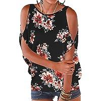 YOINS Camicia Donna Estivo Maglietta Manica Corta Bluse Spalle Scoperte Maniche a Pipistrello Top Casuale Rotondo T…