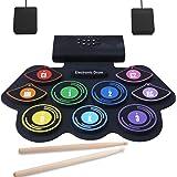 Batterie Électronique Drum Set CouHaP Pliable MIDI Batterie Musique Enceinte Intégré,9 Pads de Batterie Sensibles avec Baguet