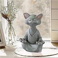 Bouddha Chat Statue - Happy Cat Buddha,Chat Bouddha Statue Méditation Chat Statue Jardin Sculpture Extérieure Décoration…