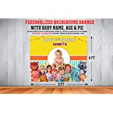 WoW Party Studio Personalized Cocomelon Theme Birthday Party Supplies with Birthday Boy / Girl Name (Background Banner with P
