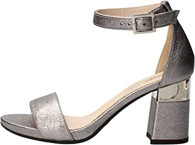 Nero Giardini E012860DE Rock Sand Acciaio Sandali Eleganti per Donna Pelle Satinata Tacco Medio