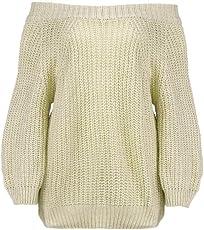 Damen Elegant Langarm Schulterfrei Pullover Sweater Übergroß Strickpullover Bluse Tops Oberteil MYMYG Frauen Herbst Langarm Off Schulter Sweatshirt