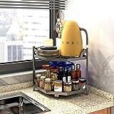 HomeMagic Étagère de cuisine avec 2 étagères, plan de travail triangulaire, étagère à épices, multifonction, salle de bain, b