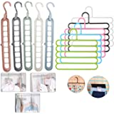 Hojo 5 pcs 9 hole magic hanger and 5 pcs 5 layer Hanger Combo Space Saver Smart Closet Organizer Wardrobe…