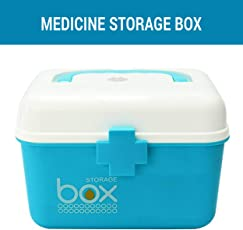 TIED RIBBONS Multipurpose Plastic Storage Box with Handle & Removable Tray for Medicines, Tools, Art and Craft Stationery, Cosmetics and Makeup