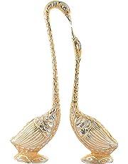 Jaipurcrafts Webelkart Pair Of Kissing Duck Showpiece - 11 Inch (Aluminium, Golden)