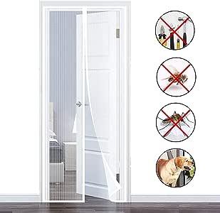 Blanc 140x220cm Rideau Moustiquaire Anti Insecte Mouche Moustique pour Porte d Entr/ée Int/érieur//Patio//Coulissante 55x87inch COAOC Magn/éTique Moustiquaire