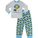 Pijama largo para niños de 8 a 15 años, diseño de emoticones, color gris y azul