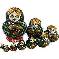 Winterworm® Set of 10 Red Green Flowers Wooden Russian Nesting Dolls Matryoshka Russian Doll (Green)