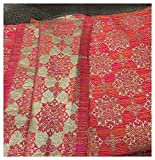 #9: Kurti Material Blouse Fabric by meter two tone orange pink gold subtle butti used for Women Dress, Gown, Saree, Bridal Lehenga, Designer Wear _90cm
