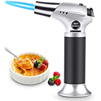 Blow Torch, Professional Kitchen Cooking Torch with Safety Lock, Adjustable Flame Refillable Mini Blow Torch Lighter, for Crafts Cooking BBQ Baking Brulee Creme DIY Soldering(Butane Gas Not Included)