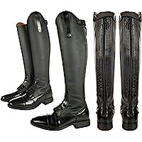 HKM Bottes d'équitation Sevilla pour adulte - Pantalon long et étroit - Noir - Taille 44