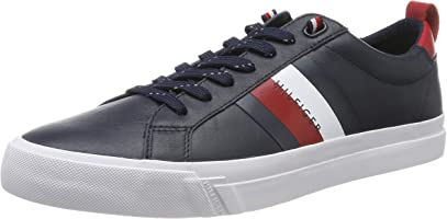 Tommy Hilfiger Flag Detail Leather Sneaker, Zapatillas para Hombre