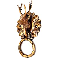 ESPLANADE Metal Brass Reindeer Face Door Knocker (6.5 Inch, Golden)