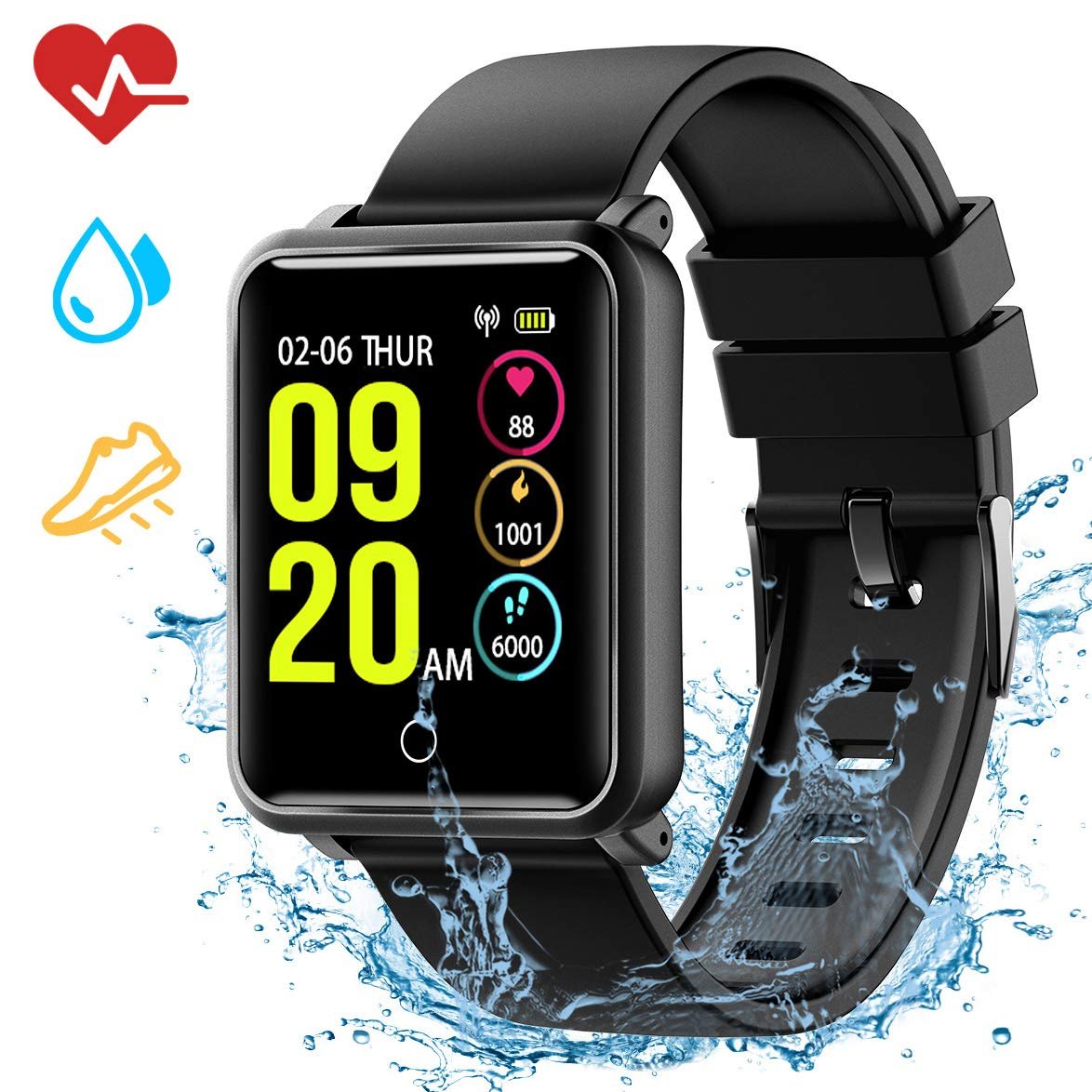 Fitness Tracker, Smart Watch with Sleep Monitor, IP68 Waterproof Level Heart Rate Monitor,Calorie Counter Activity Tracker,Call and Message Reminder