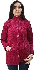 Matelco Women's Woollen Hi-Neck Buttoned Cardigan with Pockets