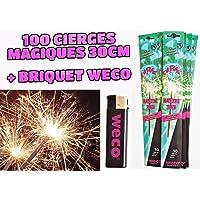WECO Lot de 100 cierges Magiques (Scintillants ou étincelants) Taille XL 30 cm, durée 70 Secondes + Briquet WECO…