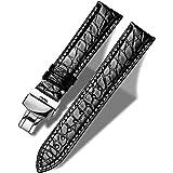 MUEN Cinturino Coccodrillo con Fibbia Pieghevole 12mm-24mm Cinturino di Ricambio in Alligatore Nero/Marrone per Uomo/Donne
