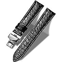 MUEN Cinturino Coccodrillo con Fibbia Pieghevole 12mm-24mm Cinturino di Ricambio in Alligatore Nero/Marrone per Uomo…